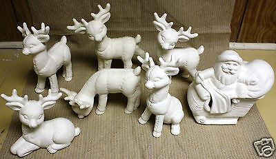 Ceramic Bisque Santa Sleigh Six Reindeer Kimple Mold 967 U-Paint Ready To Paint