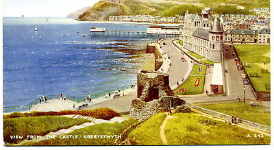 Aberystwyth. View from the Castle. Valentine's 'Art Colour' # A543. 1934 image