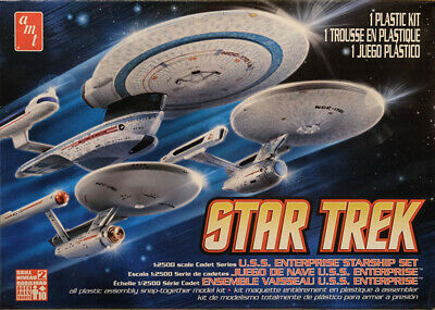Star Trek U.S.S. Enterprise Set (3in1) 1:2500 AMT Model Kit Bausatz AMT660 USS