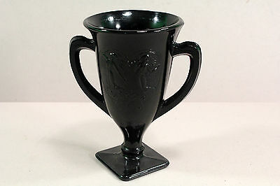 "L.E. Smith Black Amethyst Glass Trophy Vase Dancing Girls 7"" Tall"