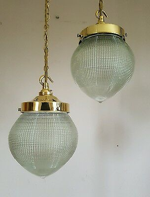 Pair Antique Edwardian c1900 Globe Early Holophane Prism Ceiling Lights Rewired