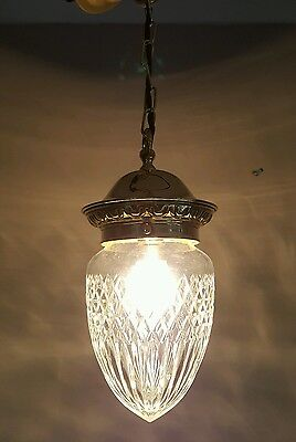 Antique c1910 Pineapple Cut Crystal Ceiling Light. Rewired.