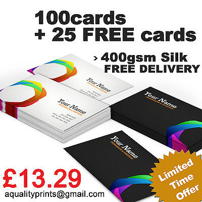 400 GSM 100 Business Cards, FULL COLOUR, DOUBLE SIDED, FREE DESIGN