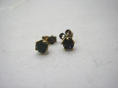 Vintage 9ct Gold Tiny Blue Stone Stud Earrings