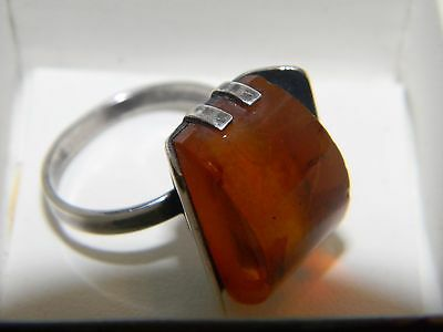 Vintage c.1958 Signed Hallmarked Russian Solid 875 Silver & natural Amber ring