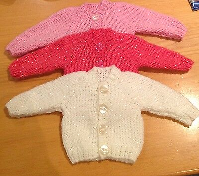 "Dolls Clothes Hand Knitted For 12-14"" 30-36cm Twinkling cardigan - colour choice"