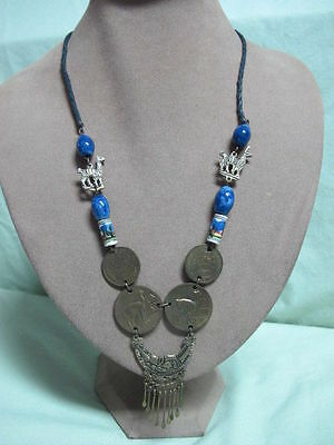 So American Peru Necklace w/ Hand Painted Beads Coins Natives