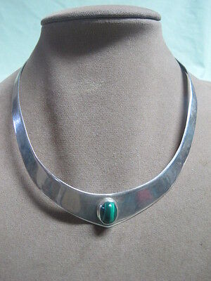Vintage Mexico sterling Cuff Necklace with  Malachite