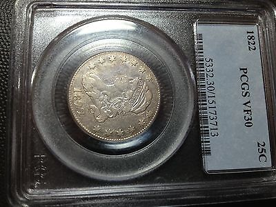 1822  PCGS  VF-30   Capped Bust Quarter   Tough Date