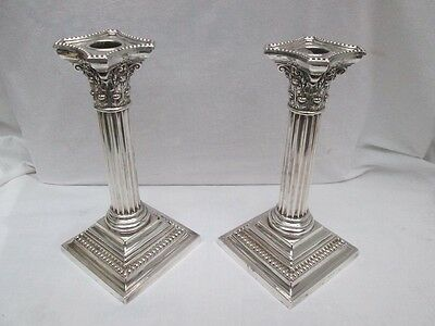 Pair Of Edwardian Silver Corinthiam Column Candlesticks. Birmingham Import 1905.