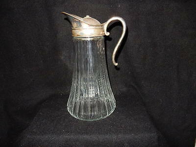 Vintage Glass & Silver Plate  Chiller Pitcher Decanter With Ice Insert - 11'h