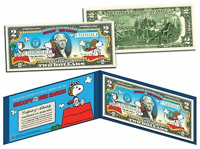 USA $2 Dollar Bill  PEANUTS SNOOPY vs. RED BARON Legal Tender Certificated Mint