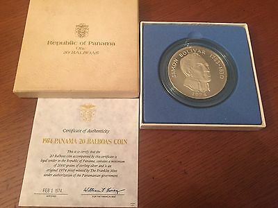 20 Balboas Silver Proof Coin 1974 Franklin Mint