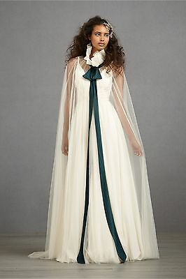 BHLDN Anthropologie Ivory CONSPICUOUS CAPE - tulle silk tie NWOT Retail $400