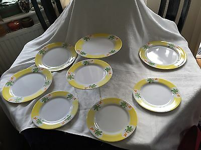 """VINTAGE MELAMINE 8 PLATES 4 x 10""""  4 x 8 YELLOW WHITE BUTTERFLIES FLOWERS LEAVES"""