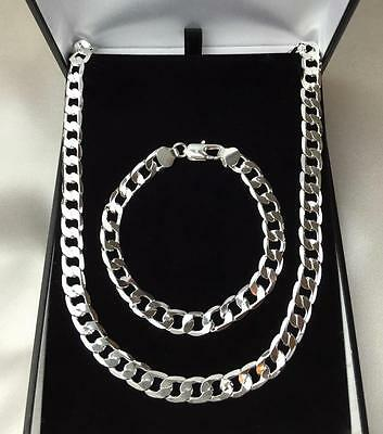 Mens 925 Sterling Silver Chunky Bracelet Necklace Jewellery Set SALE!