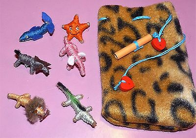 6 x Handmade Animal Worry Dolls With Pouch