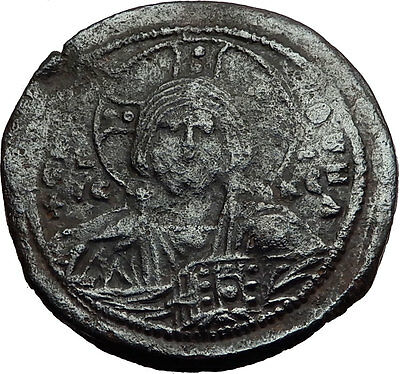 JESUS CHRIST Class A2 Anonymous Ancient 1025AD Byzantine Follis Coin i58217