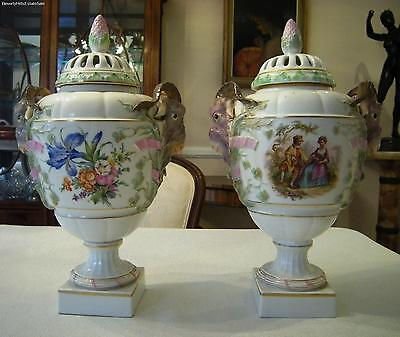 Pair Of 19th Century KPM Porcelain Potpourri Vases