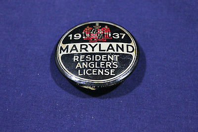 1937 Pin Back Metal Maryland Resident Angler's License
