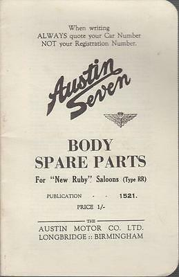 Austin 7 Seven Ruby ( Type Rr ) Original Illustrated Body Spare Parts List