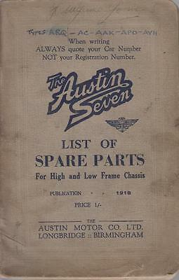 Austin 7 Seven High & Low Frame Chassis Orig.1934 Illustrated Factory Parts List