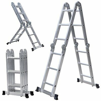 Ladder Multi Purpose Aluminum Extension Folding 12 Steps Scaffold Free Shipping!