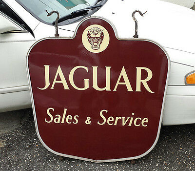 Original Porcelain 1950's Jaguar Dealership Sales & Service Auto Gas Oil Sign