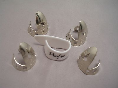 "Dunlop 5 Pc Nickel Silver Finger Pick Set .020"", Fast Ship"