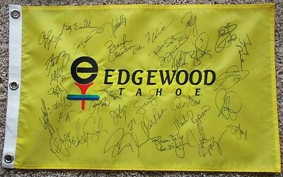 AARON RODGERS+11 HOFers+(23) Stars Signed EDGEWOOD TAHOE GOLF PIN FLAG-AMER CENT
