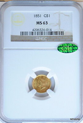 1851 G$1 Gold Liberty Head Dollar Ngc Ms 63 Cac Certified