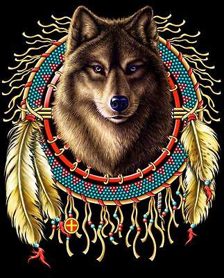 WOLF HEAD IN DREAM CATCHER  TEE SHIRT SIZE M adult T275  tshirt NEW mens womens