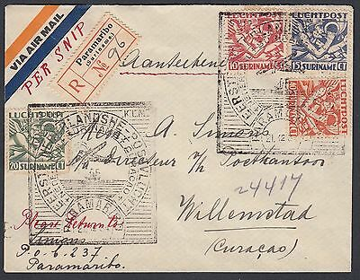 Surinam 1934 Registered First Flight Cover Paramaribo To Willemstad Curacao
