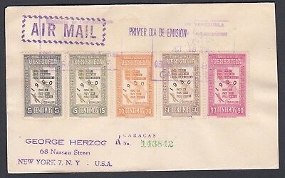 Venezuela 1950 Registered First Day Cover Census Airmails To New York Usa
