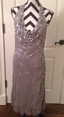 Night Way Collections Women's Halter Silver Sequins Formal Party Dress Size 12