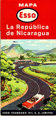 1963 Nicaragua Road Map from Esso Standard Oil
