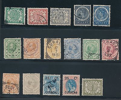 1873 - 1908 Curacao EARLY ISSUES AS SHOWN; MH & USED; CAT VALUE $120