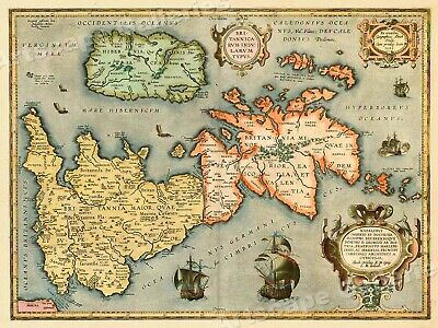 1601 Map of the Island of Brittanica Vintage Style Early England Map  24x32