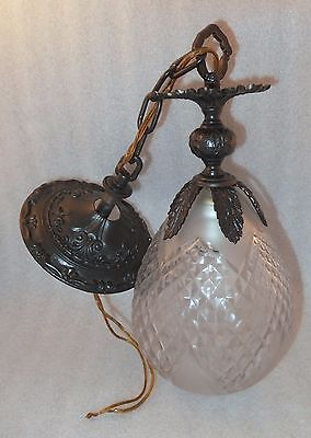 Vintage Pineapple Hanging Light Fixture Clear Crystal Glass Mid-Century