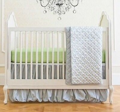 NEW Summer Infant 4 Piece Classic Bedding Set Adjustable Crib Skirt Garden Grey