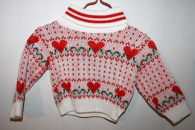 Vintage Babyfair Red Hearts Sweater Girls' Size 12 Months