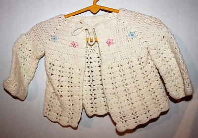 Handknitted Baby Sweater White Size 6-12 Months