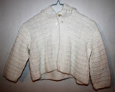 Vintage White Acrylic Sweater Girls Size 2T/3T