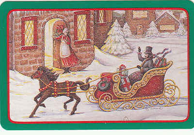 Vintage Swap/Playing Card - 1 Single - HORSE AND OPEN SLEIGH