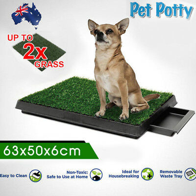 Indoor Dog Pet Potty Training Portable Toilet Pad Tray With 1 / 2 Grass Mat New