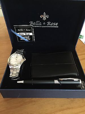 Reduced-NWT Men's Bella & Rose Watch, Wallet, Pen Gift Set Boxed!