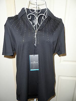 Sporte Leisure Ladies Black & Gold Bling Shirt- Size 12- NEW