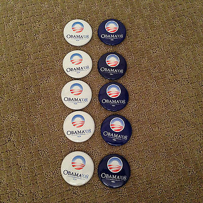 Lot of 10 Barack Obama official 2008 Presidential campaign blue white button set