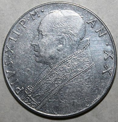 Vatican City 100 Lire Coin, 1958 - KM# 55 - Pope Pius XII - One Hundred Catholic