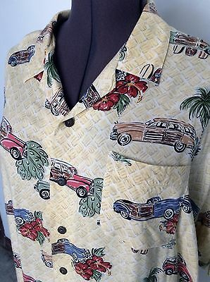 Vintage Pineapple Connection Men's Hawaiian Shirt Size 2X Large Woodies Cars